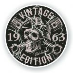 Distressed Aged Vintage Edition Year Dated 1963 Biker Skull Roundel Vinyl Car Sticker Decal 87x87mm